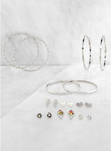 9 Metallic Hoop and Stud Earrings,SILVER,large