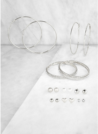 Set of 9 Metallic Rhinestone Stud and Hoop Earrings | 3122072699637,SILVER,large