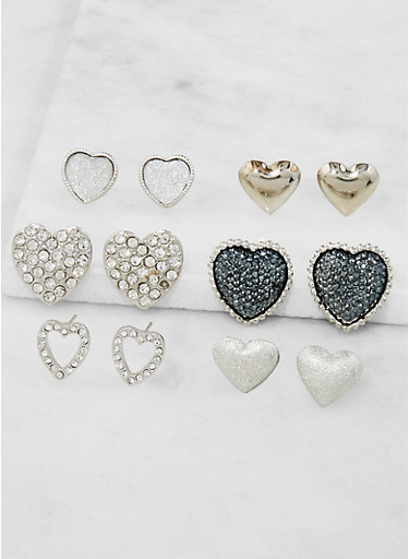 Assorted Heart Stud Earrings Set,SILVER,large