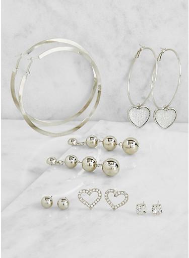 Set of Assorted Metallic Hoop and Stud Earrings,SILVER,large