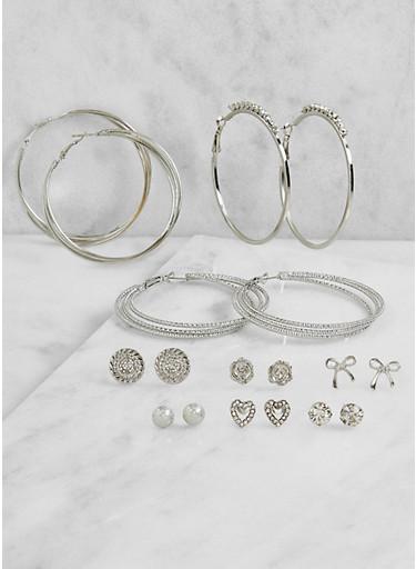 Set of 9 Rhinestone Hoop and Stud Earrings,SILVER,large