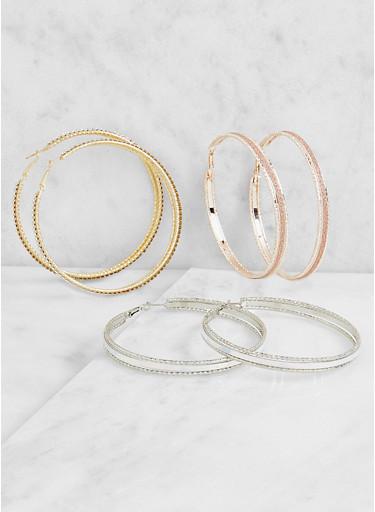 Tri Tone Hoop Earrings Set,TRITONE (SLVR/GLD/HEMAT),large