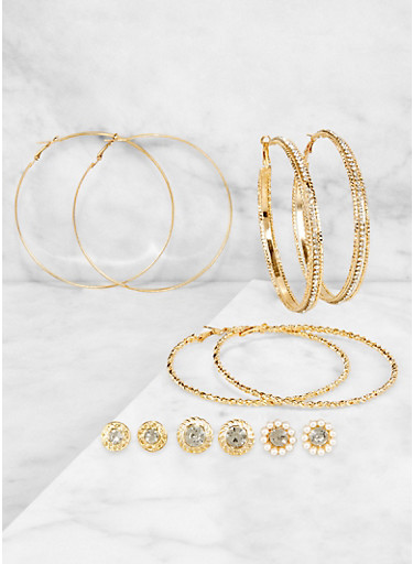 Rhinestone Textured Hoop and Stud Earrings,GOLD,large
