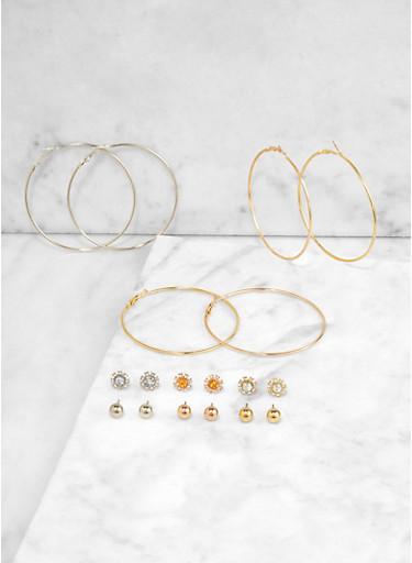 Metallic Hoop Trio and Stud Earrings,TRITONE (SLVR/GLD/HEMAT),large