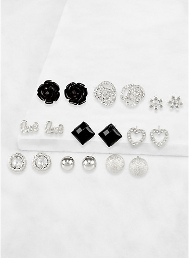 Assorted Set of 9 Rose Stud Earrings,SILVER,large