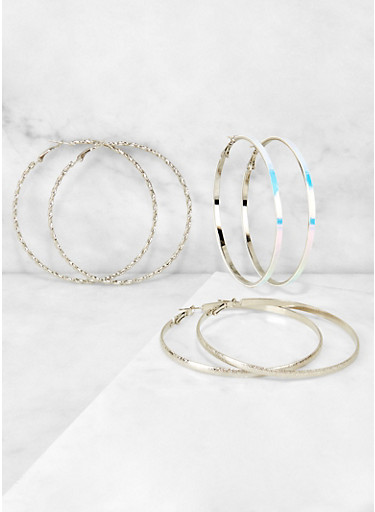 Metallic and Iridescent Hoop Earring Trio,SILVER,large