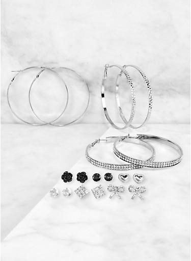 9 Assorted Rhinestone Hoop and Stud Earrings Set,SILVER,large