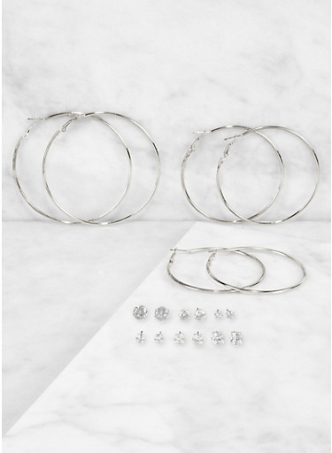 Rhinestone Stud and Hoop Earrings Set | 3122073842792,SILVER,large