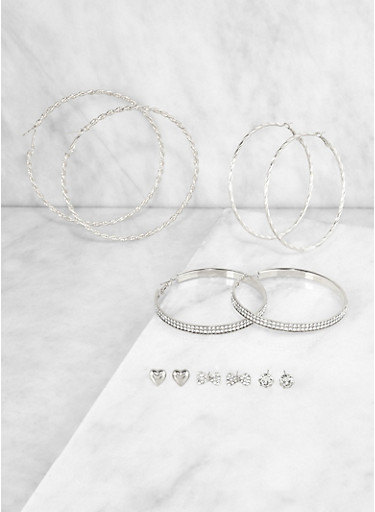 Assorted Stud and Twist Hoop Earrings,SILVER,large