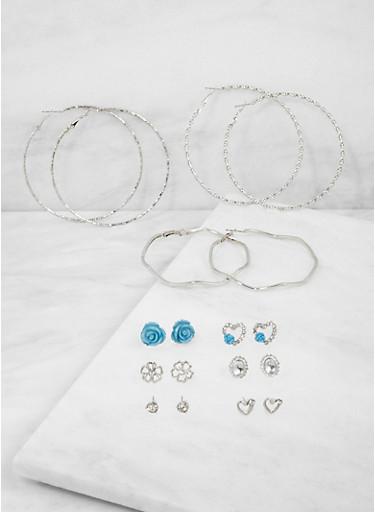 Assorted Set of 9 Stud and Hoop Earrings,SILVER,large