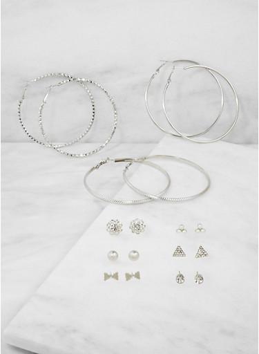 Set of 9 Rhinestone Stud and Hoop Earrings,SILVER,large