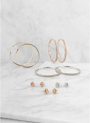 Rhinestone Hoop and Knot Stud Earrings,TRITONE (SLVR/GLD/HEMAT),large