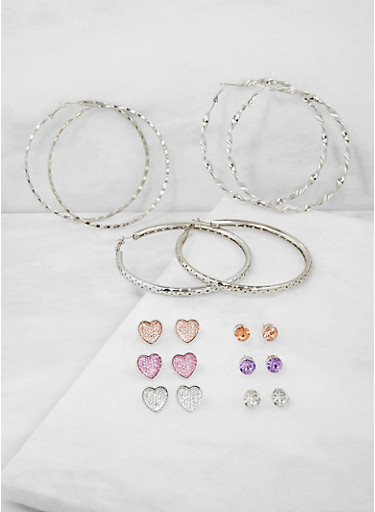 Set of 9 Assorted Stud and Hoop Earrings,SILVER,large