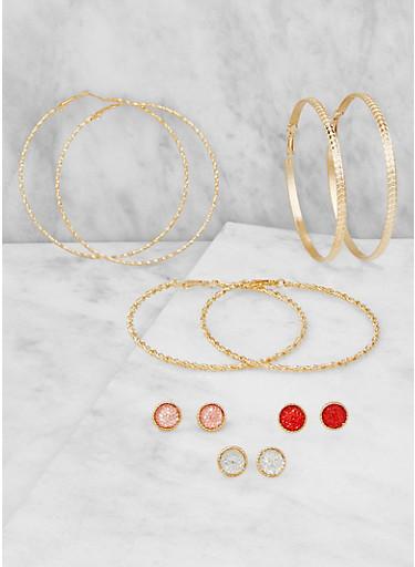 Disc Stud and Hoop Earrings Set,GOLD,large