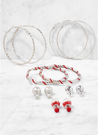 Set of 6 Assorted Hoop and Reversible Stud Earrings,SILVER,large