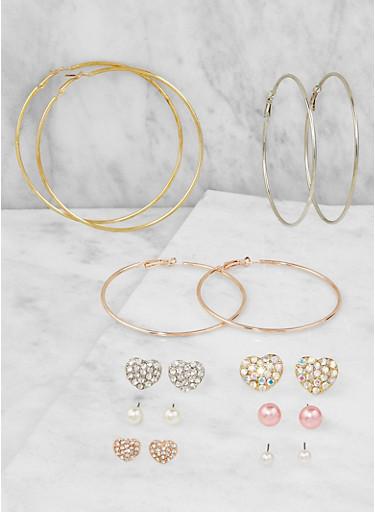 Tri Tone Stud and Hoop Earrings Set,TRITONE (SLVR/GLD/HEMAT),large