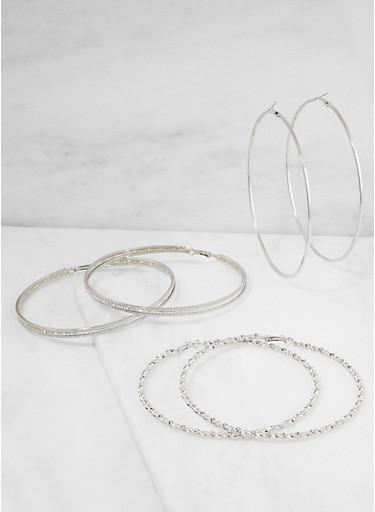 Oversized Metallic Hoop Earrings - 3122073849033