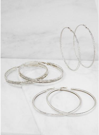 Oversized Rhinestone Hoop Earrings,SILVER,large