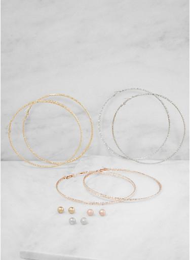 Oversized Tri Tone Hoop and Stud Earrings Set,TRITONE (SLVR/GLD/HEMAT),large