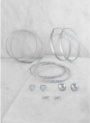 Trio of Rhinestone Hoop and Stud Earrings,SILVER,large