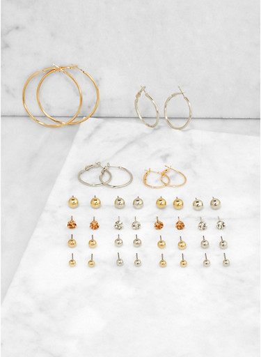Assorted Small Metallic Hoop and Stud Earrings,GOLD,large