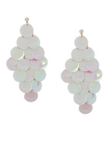 Sequin Chandelier Earrings,WHITE,large
