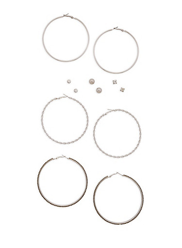 Assorted Set of Hoop and Stud Earrings,SILVER,large