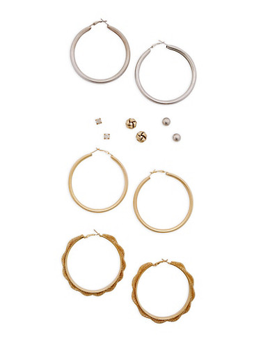 Assorted Hoop and Stud Earrings Set,TRITONE (SLVR/GLD/HEMAT),large
