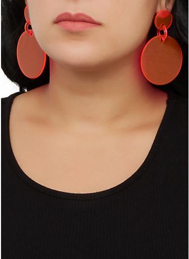 Plastic Circle Drop Earrings,NEON PINK,large