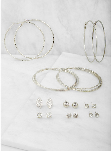 Set of 9 Assorted Hoop and Stud Earrings Set,SILVER,large