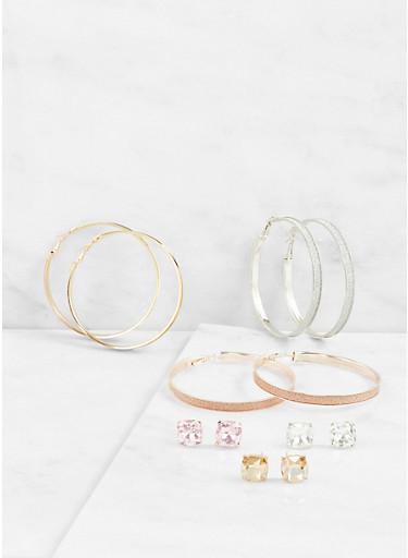 Glitter Hoop and Large Rhinestone Stud Earrings,MULTI COLOR,large