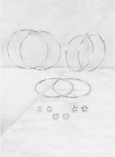 Rhinestone Stud and Hoop Earrings Set   3122074171018,SILVER,large