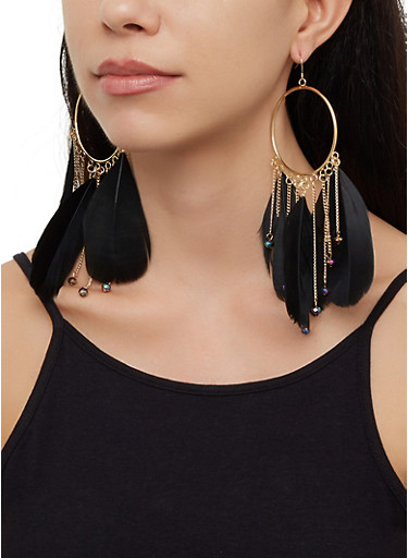 Beaded Feather Circle Drop Earrings,BLACK,large