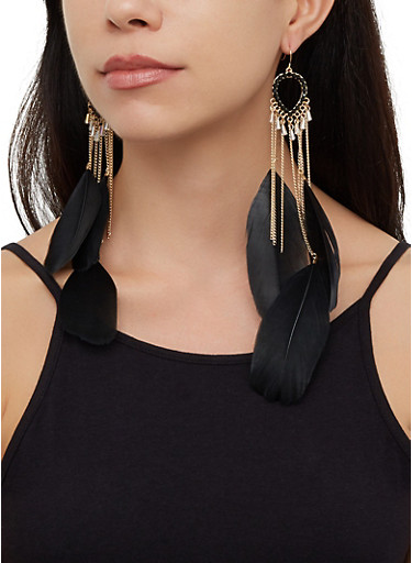 Multi Feather Chain Drop Earrings,BLACK,large