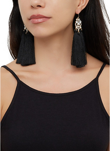 Triple Tassel Drop Earrings,BLACK,large