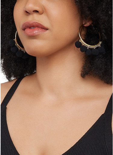 Pom Pom Metallic Hoop Earrings,BLACK,large