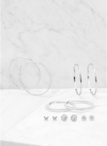 Assorted Butterfly Stud and Hoop Earrings Set,SILVER,large