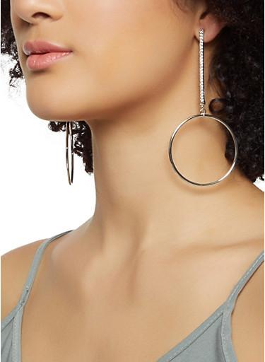 Rhinestone Stick Hoop Earring Set,SILVER,large