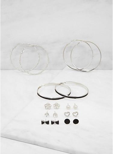 Set of 9 Glitter Rhinestone Hoop and Stud Earrings,SILVER,large