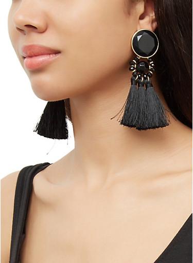 Beaded Triple Tassle Drop Earrings,BLACK,large