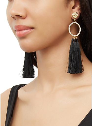 Rhinestone Circle Triple Tassel Earrings,BLACK,large