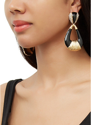 Painted Door Knocker Earrings,BLACK,large