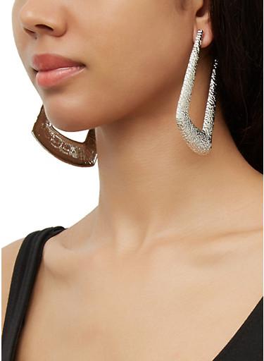 Large Hammered Metallic Door Knocker Earrings,SILVER,large
