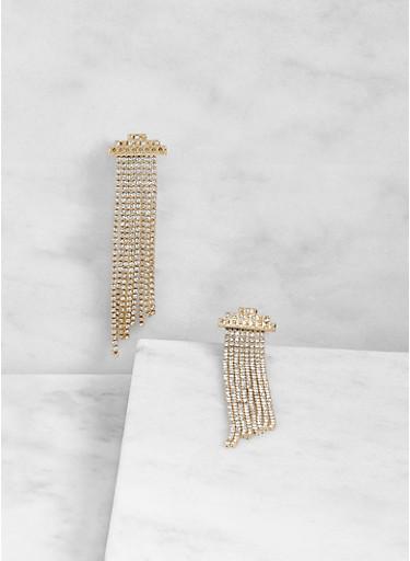 Rhinestone Fringe Earrings - 3122074591029