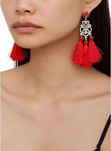 Rhinestone Three Tassel Earrings,RED,large