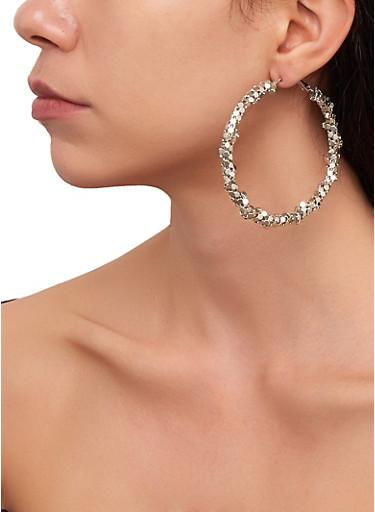 Trio of Stud and Metallic Hoop Earrings,SILVER,large