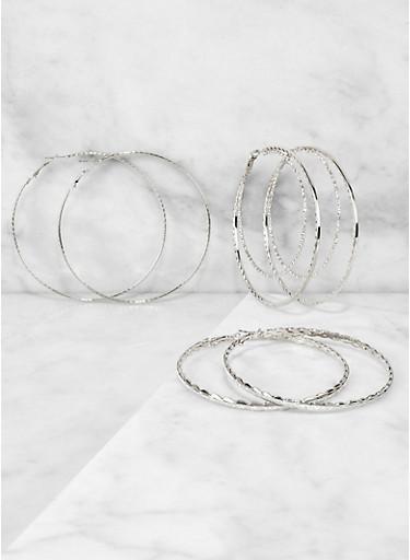 Textured Glitter Metallic Hoop Earring Trio,SILVER,large