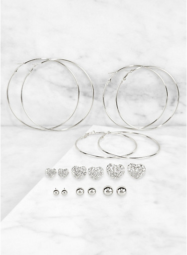 Set of 9 Assorted Size Hoop and Stud Earrings,SILVER,large