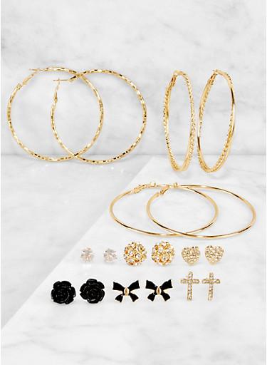 Rhinestone Stud and Twisted Hoop Earrings Set,BLACK,large