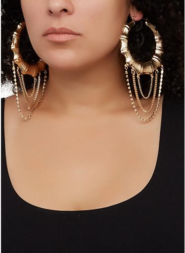 Rhinestone Layered Metallic Bamboo Hoop Earrings,GOLD,large